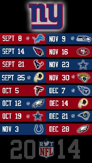 NFL 2014 NEW YORK GIANTS IPHONE 5 WALLPAPER SCHEDULE