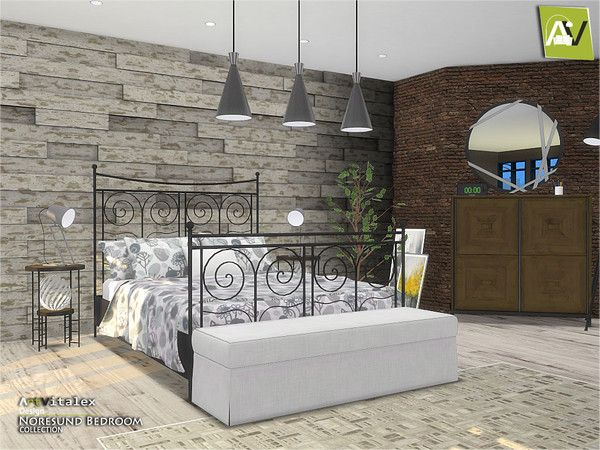 Artvitalex S Noresund Bedroom Ikea Inspired Sims 4 Bedroom Sims 4 Beds Sims 4 Cc Furniture