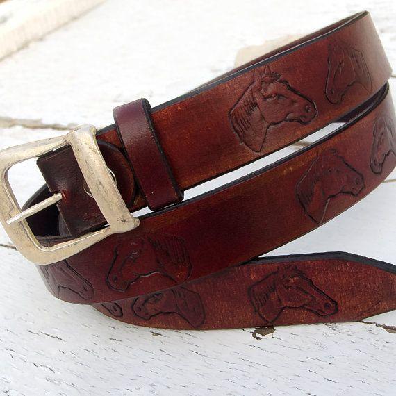 Women Leather Belt Cowboy belt Horse design leather by JeansBelt