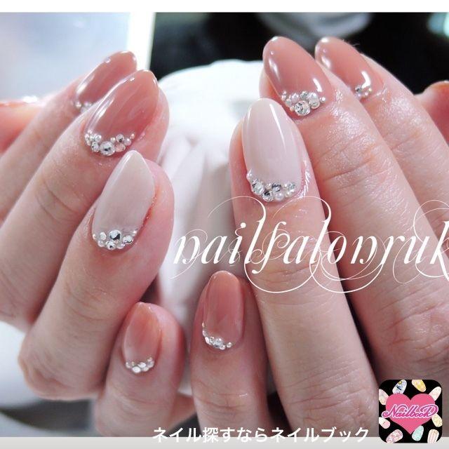 pink stones nail art