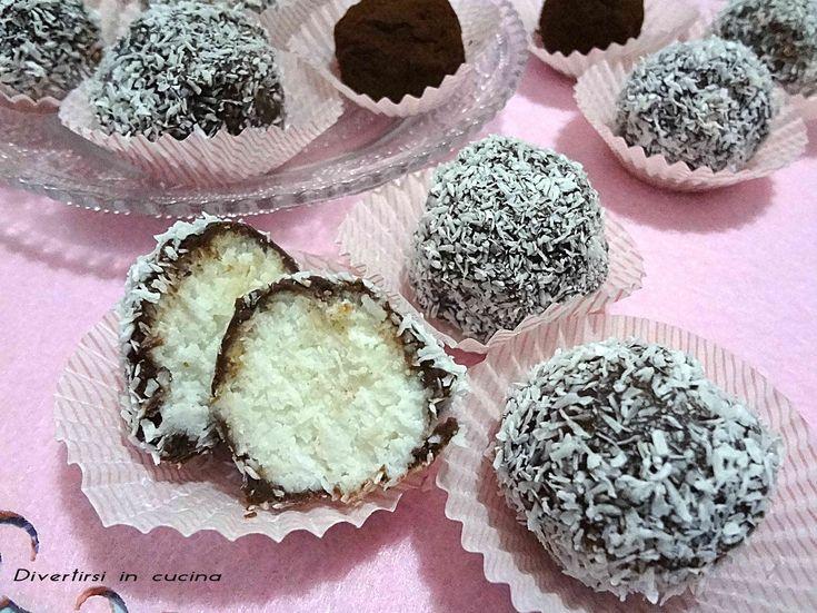 Tartufini ricotta cocco e cioccolato