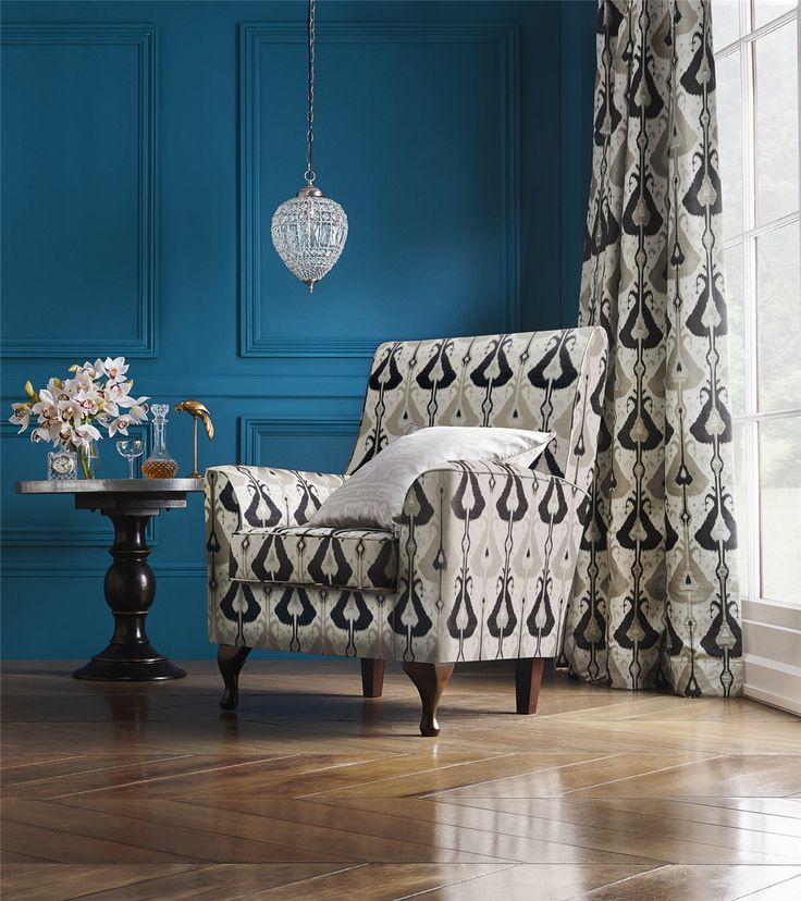 Marrakech upholstery fabric by Charles Parsons Interiors  Marrakech is a wonderful large-scale ikat design in a range of six authentic colours that allow this upholstery fabric to incorporate seamlessly into any decor.  #charlesparsonsinteriors