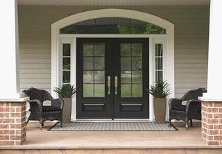 Love the double doors with glass and the bit of window on the side.