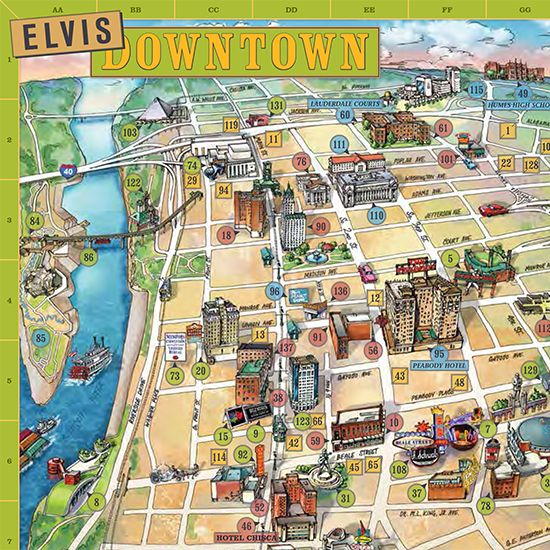 Brighten someone's Blue Christmas with a hand-drawn guide to Elvis's hometown. The Memphis Map for Elvis Fans highlights all The King's former haunts in River City.