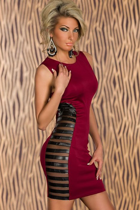 Red Club Tank Bodycon Dress with Side Striped Mesh