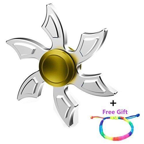 MNtech New Cool Four Spinner Fidget Aluminum Finger Stress Hand Desk Toy (Silver2)