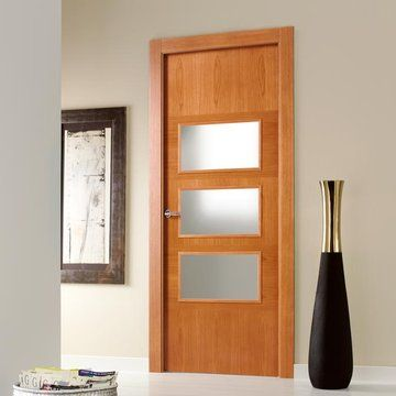 Beautiful prefinished SanRafael Lisa style K15VA3 stained rustic oak veneered glazed door. #glassdoors