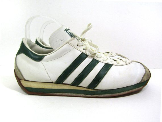 best service edcc7 17bb6 Adidas Country made in France mens vintage 1970s running shoes   tennis  shoes   sneakers. White leather with green accents and rubber soles.