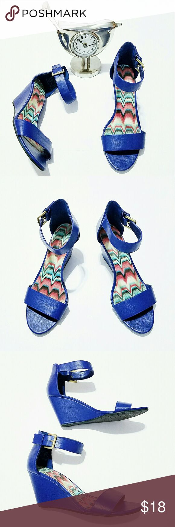 Royal blue wedge shoes size Cute wedge shoes. These are very comfortable. Worn once. In excellent condition. Size 9W. American Eagle Shoes Wedges