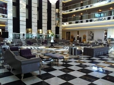 Lobby at the Delphin Imperial hotel in Lara
