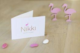 geboortekaart I gouden foliedruk I fluo roze I flamingo