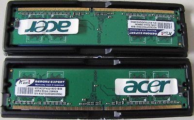 2 x Acer 512MB (1GB) DDR2 533MHz PC-4200 DIMM Memory Modules