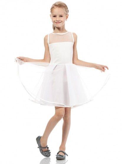 Dětské elegantní šaty bez rukávu KIDIN - ecru