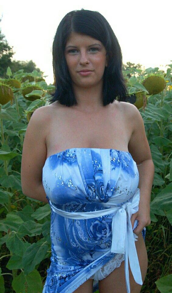 Alicja - blue summer dress - among the sunflowers
