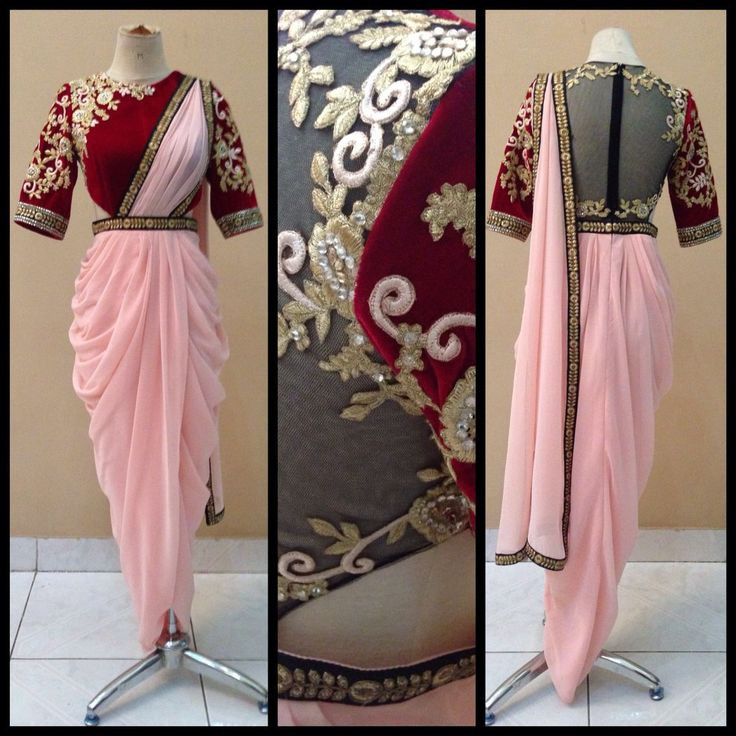 Misch B Couture Light Pink Draped #Kurta #Lehenga With Red Embroidered #Blouse.