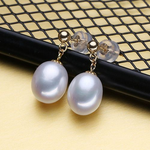 18K Gold Pearl Yellow Gold Stud Earrings