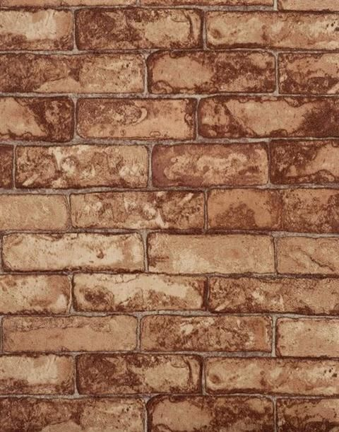 RN1031 - Red and Orange Faux Small Brick Textured Wallpaper from Modern Rustic - Distributed by York Wallcovering - $32.99 per single roll.