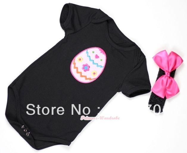 Черный ребенок комбинезон с пасхальное яйцо печать с черный повязка на голову и ярко розовый шелк MATH308