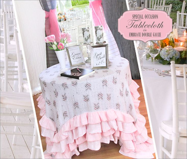Special Occasion Tablecloth with Deep Double Ruffles: Embrace Double Gauze by Shannon Fabrics | Sew4Home