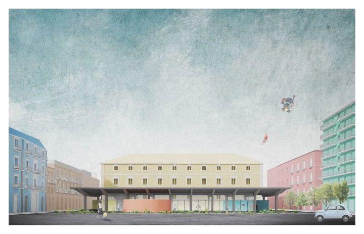 Higher ground - Render - Architecture rapresentation - Piazza Lupo - Catania - AAA Architetti cercasi - Arcipelago - architettura collettiva