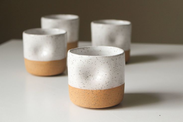 "Cord x Clay ""Thumblers"": Speckled Ceramic Cups with Thumb Holds - Clay/Pottery - Tumbler/Water Glass/Mug - White Glaze - Handmade - Wheel Thrown - Modern http://etsy.me/2nlDfZc #cups # tumblers"