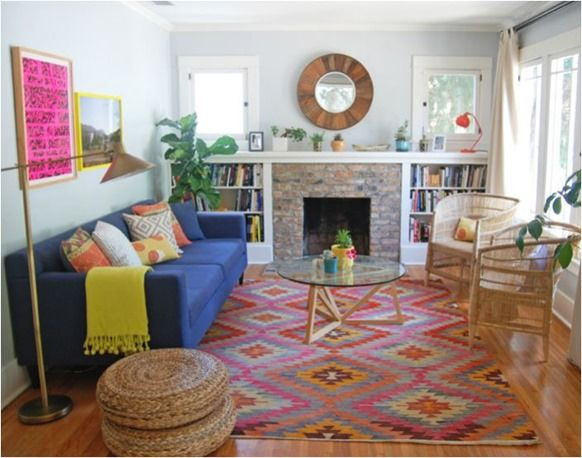 kilim rug taylor Jacobson. Love Everything about this room! Windows, color, furniture...