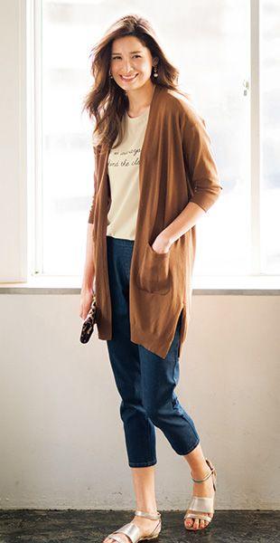 休日にはロングカーデとサンダルを合わせたい☆40代アラフォー女性におすすめのテーパードパンツ♡