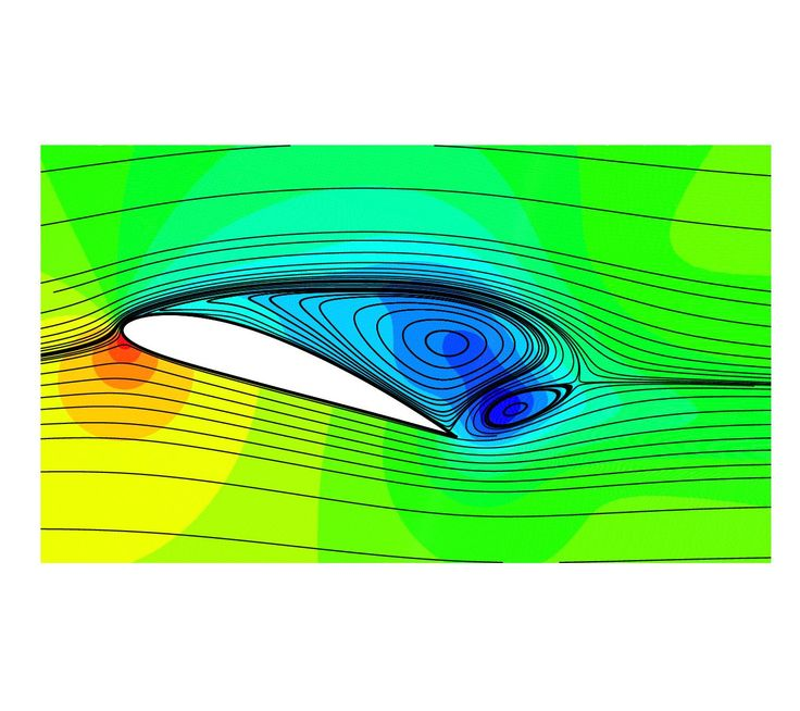 flow around an airfoil at high aoa, indicated by pressure contours and streamlines