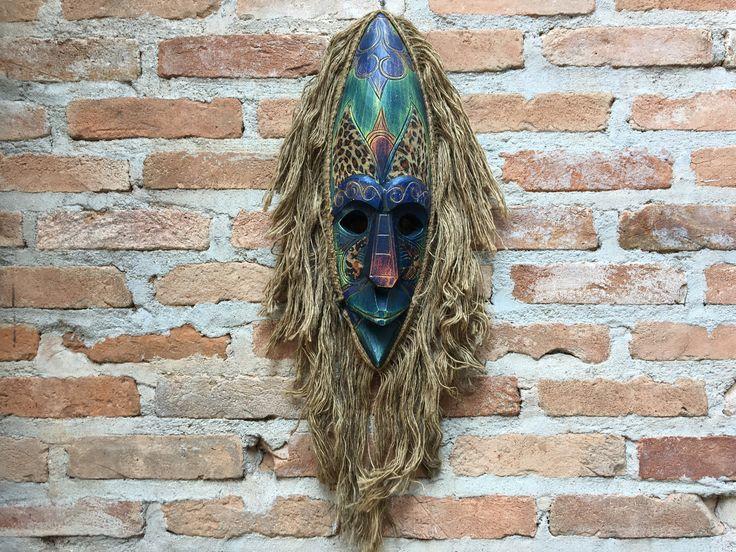 Mascara Carranca Da Indonésia Decoração Parede Artesanal