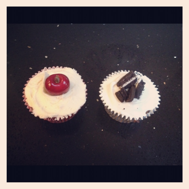 Cherry Chocolate cupcakes and Oreo cupcakes.