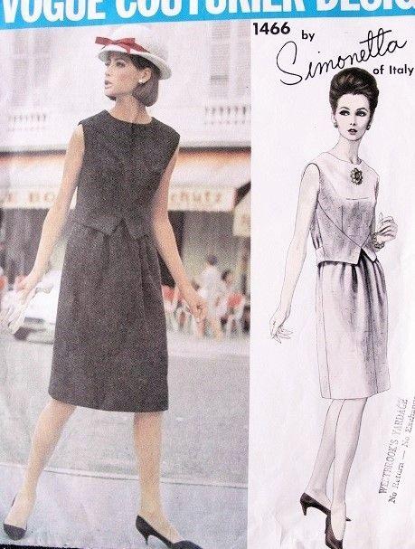 1960s SIMONETTA Dress Pattern Vogue Couturier Design 1466 Vintage Sewing Pattern Unique WaistCoat Creates 2 Pc Effect  Dress Bust 32 FACTORY FOLDED