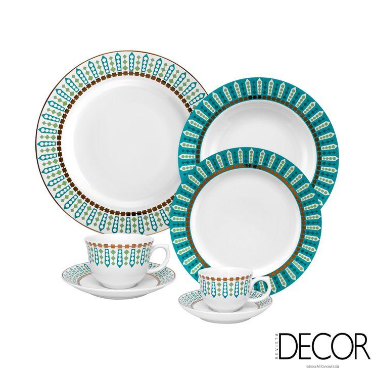 Com estampas inspiradas na Tiara de Diamantes utilizada pela realeza britânica, a linha Flamingo Tiara, Oxford, recebe detalhes em ouro e pode ser levada ao micro-ondas.