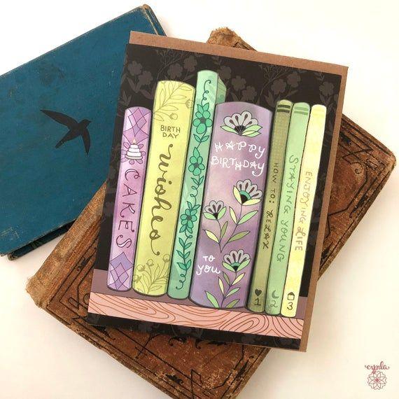 Bookshelf Greeting Card Book Greeting Cards Book Store Etsy Greeting Card Book Birthday Card Book Card Book