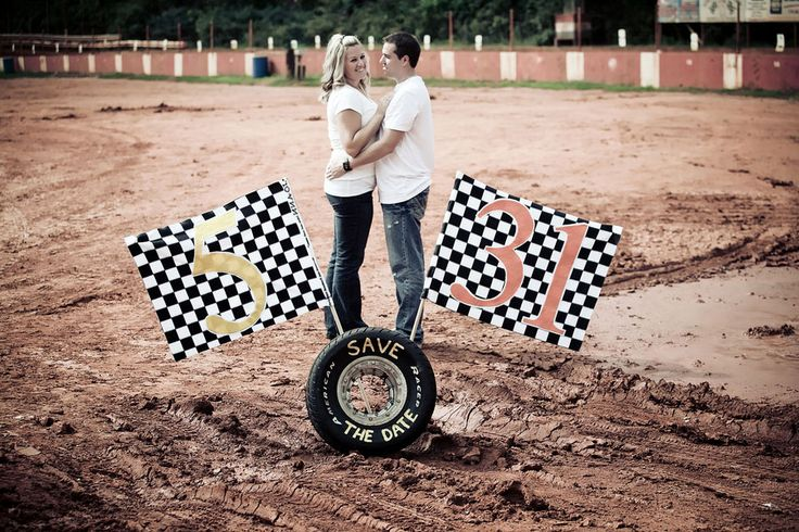 Love On The Speedway, Race Track Engagement Photos With Checkered Flags & Beer Showers | Storyboard Wedding