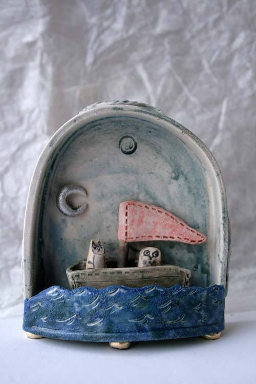 The Owl and The Pussycat - ceramic stoneware sculpture