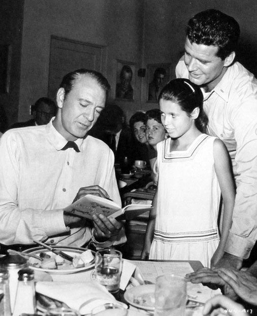 """While visiting her father, James Garner, during filming of """"Up Periscope"""", Gigi Garner meets Gary Copper at the Warner Bros commissary in 1959"""