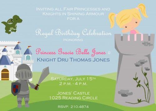 princess and knight birthday party | Princess and Knight Personalized Birthday Party Invitation ...