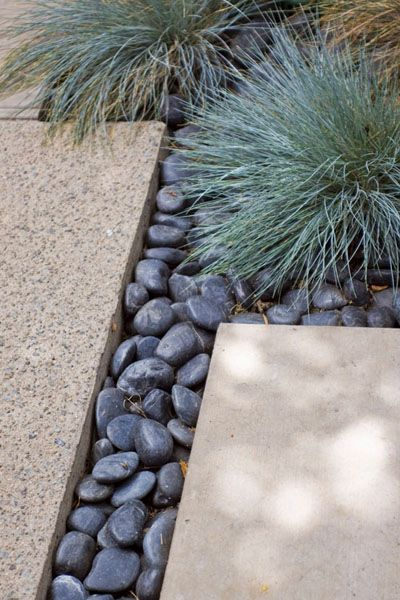 I like the black rocks with concrete paving stones