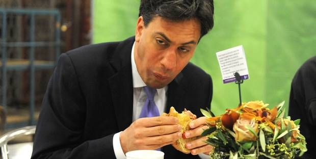 Ed Miliband fails to look normal while eating bacon sandwich ahead of whistle-stop campaign tour - UK Politics - UK - The Independent