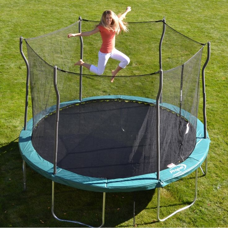 Exterior Contemporary Trampoline With Collapsible Enclosure from