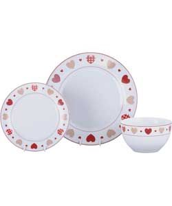 Living Hearts 12 Piece Dinner Set - Red.