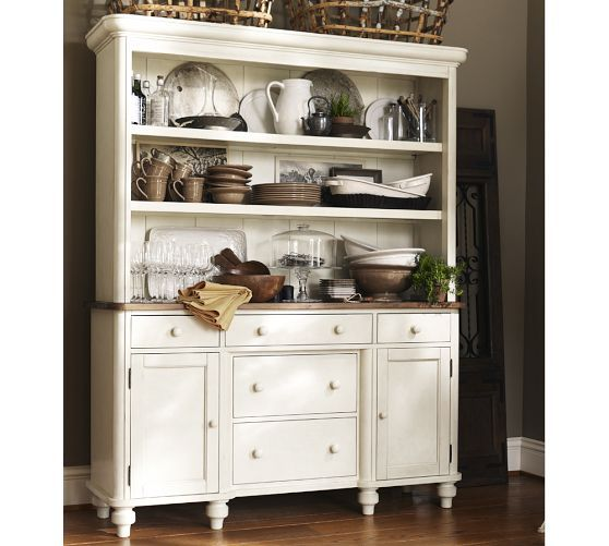 Keaton buffet hutch french white pottery barn for for Hutch decor