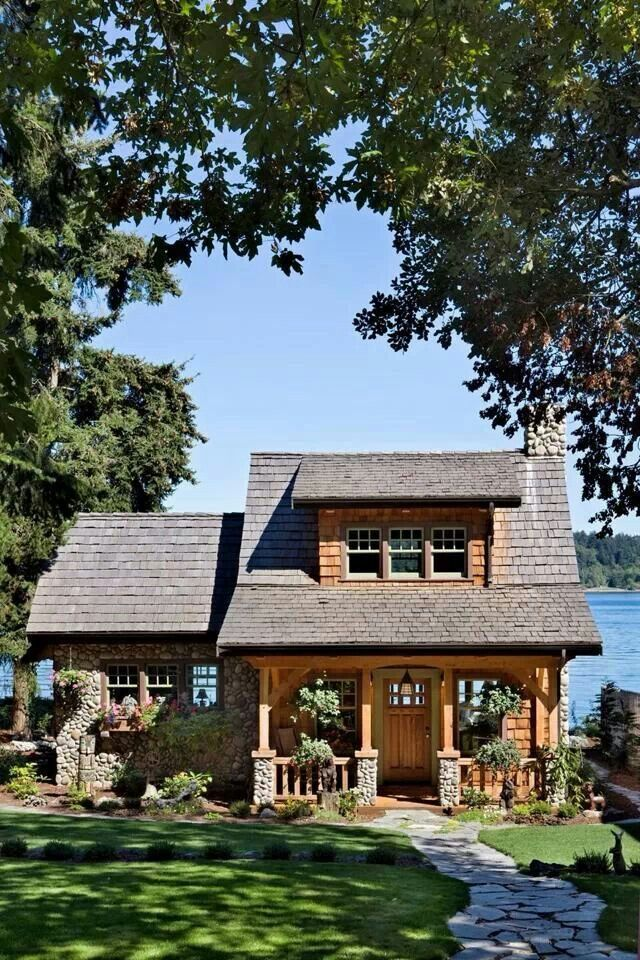 Cabin by the water.