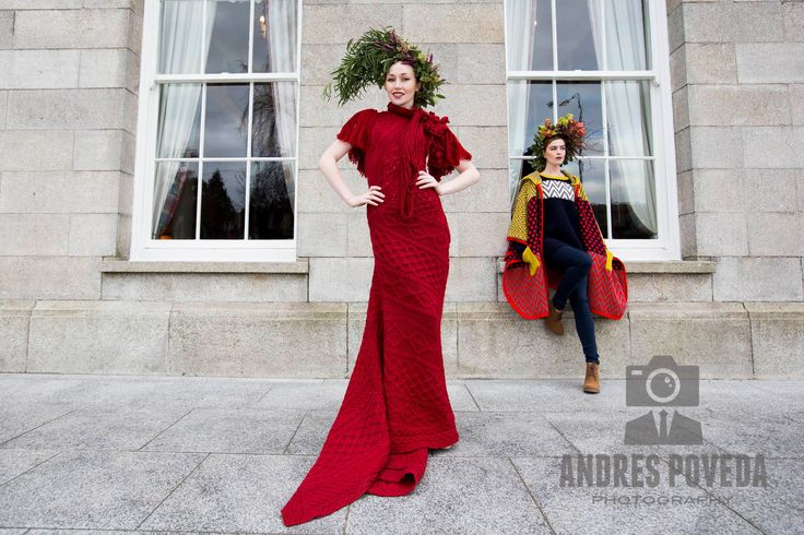 Red cabled dress by Mary Donoghue for Irelands Eye Knitwear 2015