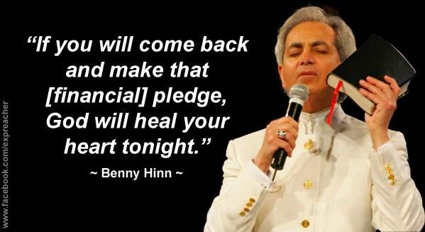 """Televangelist pastor Benny Hinn is a fraud, scam, divorcee, and cheat. Benny Hinn preys on weak-minded people to convince them he can use """"faith-healing"""" to cure their illnesses so that they donate over $100,000,000 per year to support his extraordinarily lavish lifestyle. Hinn flies around in a Gulfstream G4SP valued at $36,000,000 and costing $600,000 more per year to operate and maintain."""