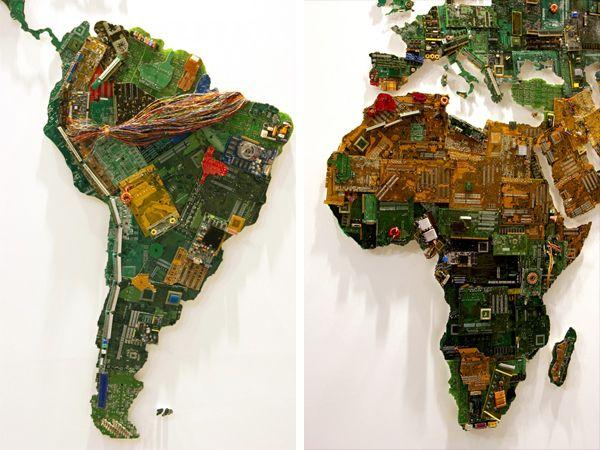 oude computer onderdelen wereldkaart
