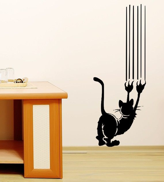 Cat Scratch Vinyl Wall Decal Art