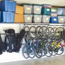 So many bikes in a small space! Custom Garage Storage Solutions: Monkey Bars garage storage and organization (Lodi, Stockton, Concord, Walnut Creek...)