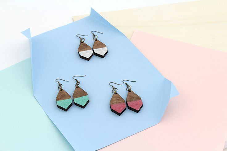 DIAMANTE earrings in Hammered White, Emerald and Rosewood by MOIMOI Accessories