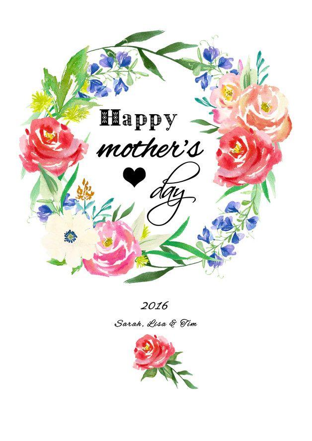 Poster für den Muttertag, Blumenkranz, Geschenkidee / floral illustration for mother's day, flower wreath made by Wandzucker via DaWanda.com